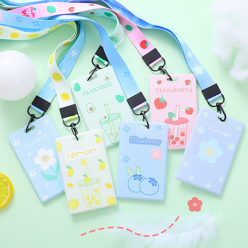 Creative Fruit Flower Avocado Card Holder Cute Keyring Bank Card ID Bus Card Holders With Lanyard Stationery Gift Badge Holder