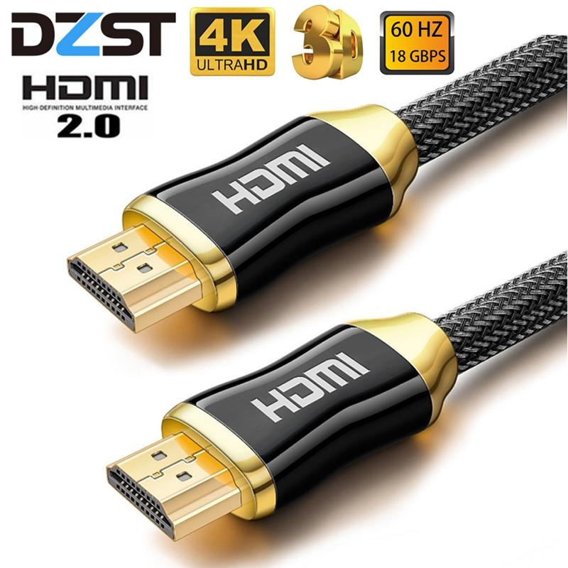 Dzlst hdmi cabo 4 k ultra hd 60 hz macho para macho de alta qualidade banhado a ouro comum trançado cabo para hd tv projetor hdmi 2.0 cabo