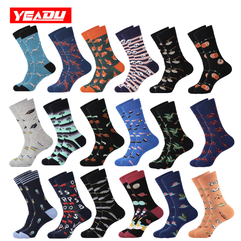 YEADU  Men's Cotton Socks Colorful Happy Funny Novelty Cool Fashion Dino Fish Space Pineapple Socks For Men Christmas Gift