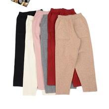 Hlbcbg женские трикотажные широкие брюки новые толстые теплые