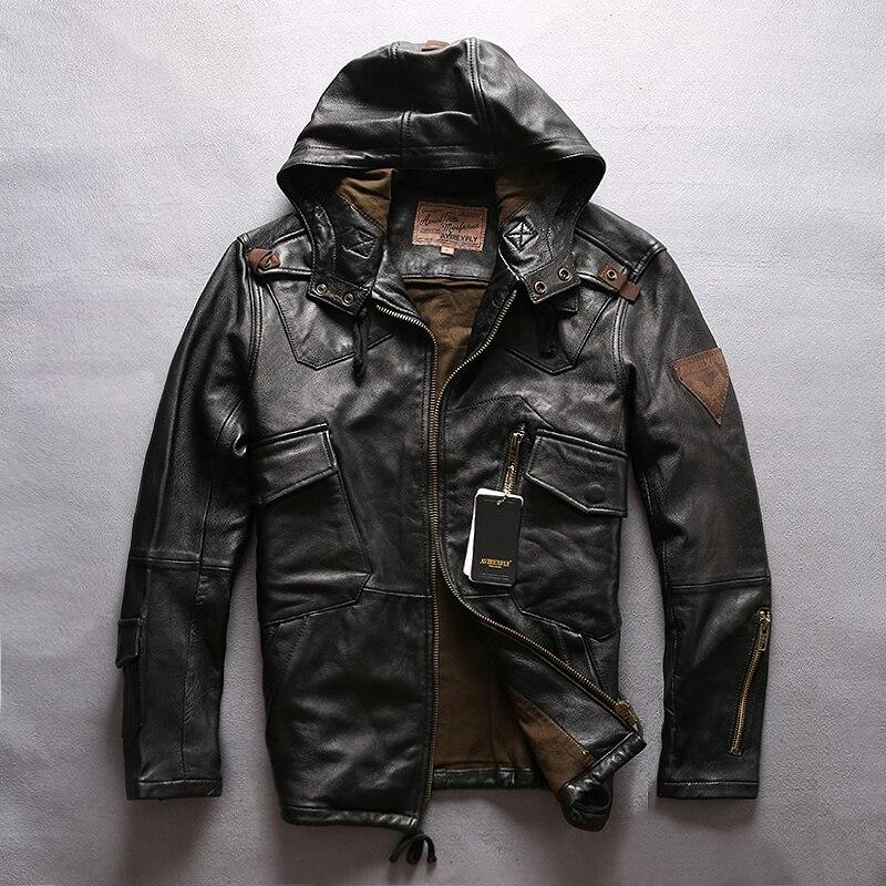AVIREXFLY 2020 New Men Hooded Leather Jacket Men Flight Jacket Black Genuine Sheepskin Slim Fit Casual Russian Leather Coats