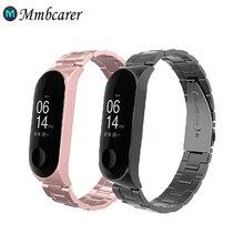 Değiştirilebilir sapanlar Xiaomi Mi Band için 5 Metal kayış paslanmaz çelik bilek kayışı Xiaomi Miband 4 5 3 Metal watch Band M3
