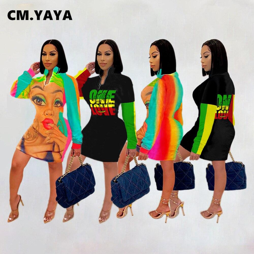 CM.YAYA-Vestido Midi ceñido con letras para mujer, vestidos informales de manga larga con cremallera, Vestido de lápiz para Otoño e Invierno