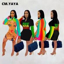 CM.YAYA Brief Patchwork Midi Bodycon Kleid für Frauen Streetwear Lange Sleeve Zipper Up Kleider Bleistift Vestido herbst winter