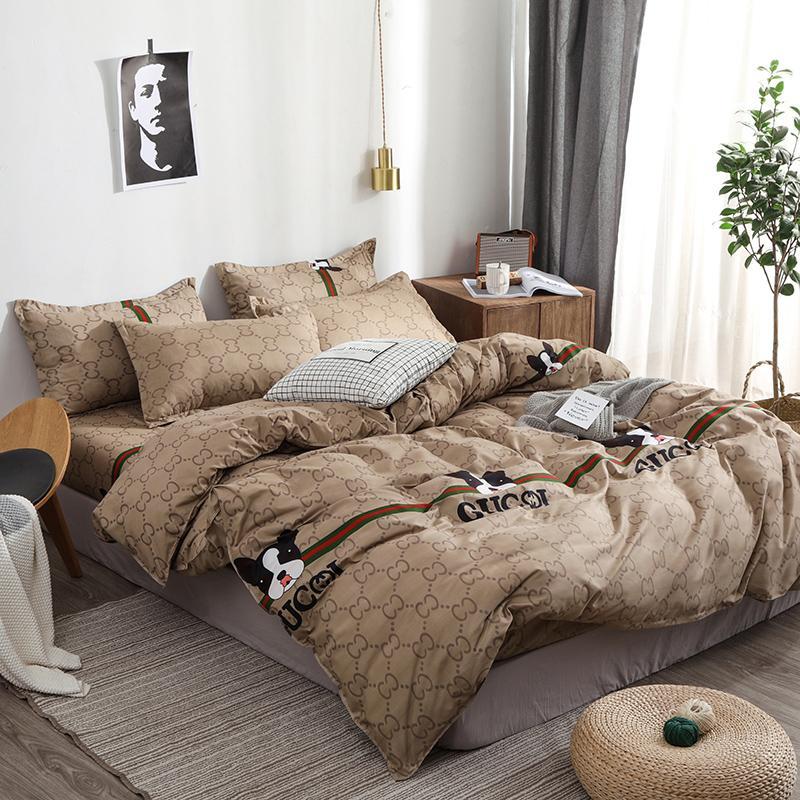 Good Stuff BestSeller  Lovely Doggie Printing Duvet Cover Men Style Brown PureColor Bedsheet Bedding Set King BedCover