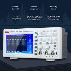 "Image 2 - UNI T UTD2102e Digital Oscilloscope 100MHz Logic Analyzer Bandwidth 2 Channels 500Ms/S Storage Portable 7"" TFT LCD Scopemeter"