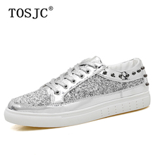 TOSJC Fashion Mens Casual Sneakers Outdoor Skateboarding Shoes Shining Rivet Design Sport Shoes for Male Lace-up Flat Footwear tosjc 2