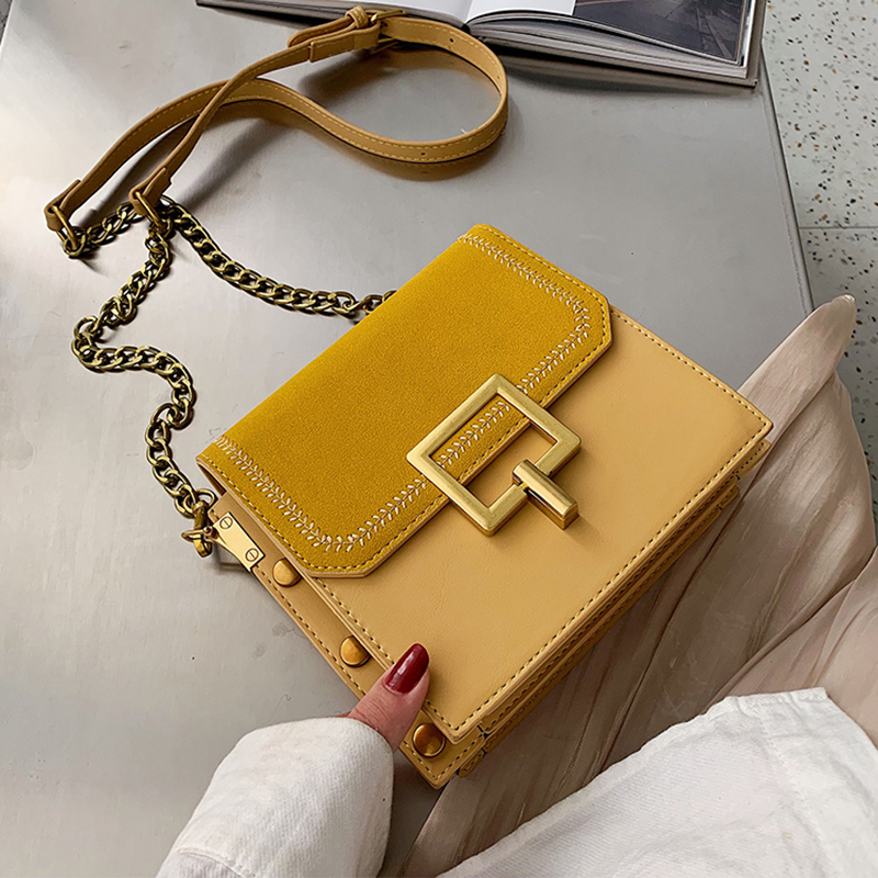Scrub Leather Crossbody Bags For Women 2020 Fall Small Shoulder Messenger Bag Fashion Quality Chain Handbags And Purses
