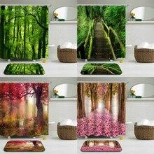 2pcs/Set Green Forest Trees Scenery Shower Curtains Mat Set Bathroom Waterproof Cloth + Non-slip Mat Toilet Bathroom Home Decor