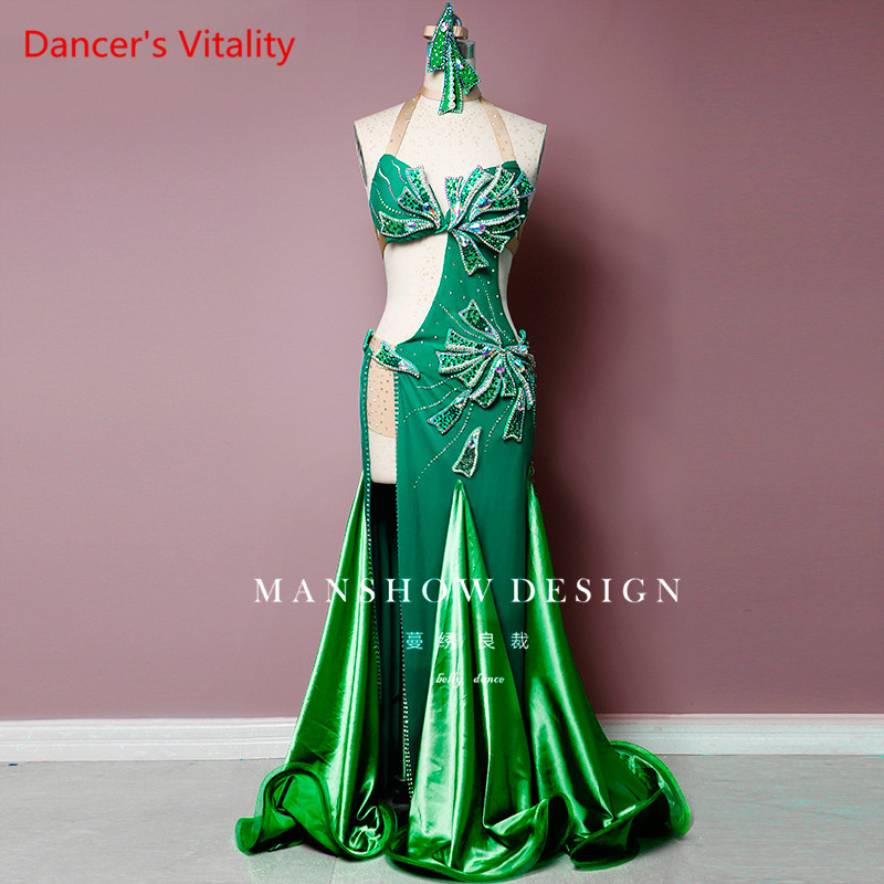 Custom Made Belly Dance Costumes Women Costume Summer Sexy Covered Belly Dance Green Luxury Diamond Set