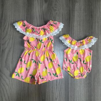 Ropa para Hermanas Girlymax, ropa para niñas pequeñas, ropa de seda con volantes para verano, pantalones cortos de algodón coral y limón, conjunto de ropa, pelele, pañal para niños pequeños