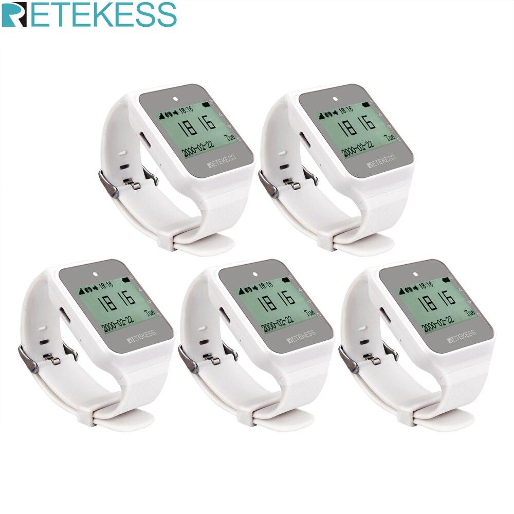 Retekess 5 pçs td108 receptor de relógio sem fio 433 mhz multi idioma pager garçom sistema chamada restaurante pager serviço ao cliente