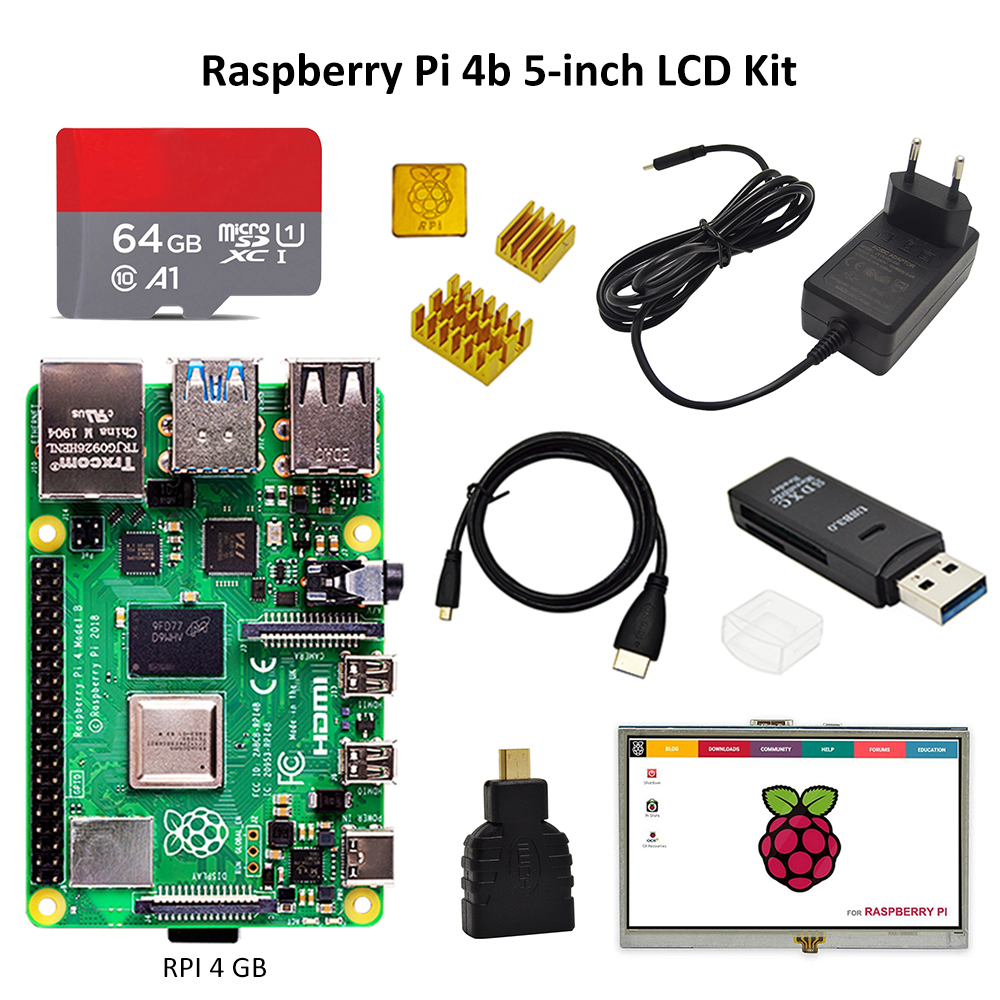 <font><b>Raspberry</b></font> <font><b>Pi</b></font> 4 kit with <font><b>display</b></font> <font><b>PI</b></font> 4B 2GB/4GB : Board+Heat Sink+Power Adapter+16/32/64GB TF card+HDMI Cable+<font><b>5</b></font> <font><b>inch</b></font> touch dispay image