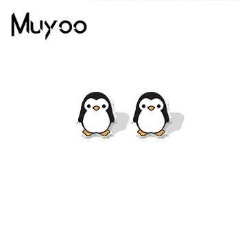 Lindos animales Kawaii dibujos animados estilo acrílico pendientes animales encantadores zorro pingüino perro joyería resina pendientes regalos para niños epoxi