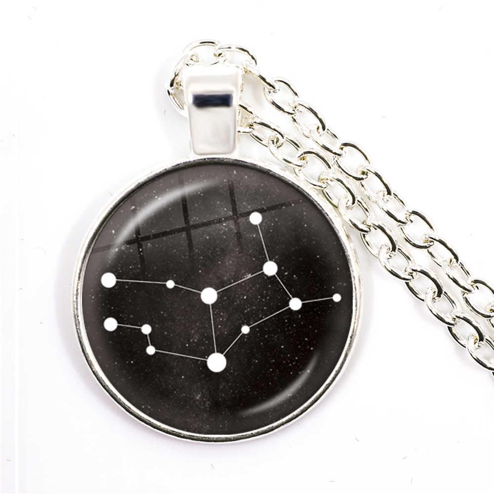 12 星座ペンダントネックレス銀河星座デザイン星座占星術 25 ミリメートルガラスカボションネックレス用