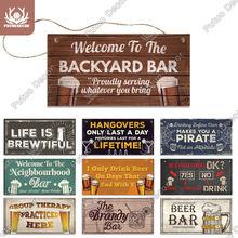 Putuo decoração pub sinais placa de madeira verão cerveja placas para praia barra casa porta pendurado decoração da parede sinal bar pub decoração da parede