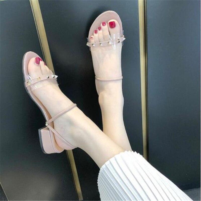 Metal String Rivets Summer Women Sandals Open Toe Shoes Women's Sandles Square Heel Women Shoes Korean Style Gladiator Shoes