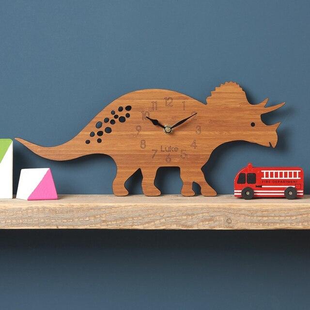 Wooden Wall Clock Modern Design Decorative Nursery 3D Stickers Dinosaur Clocks Hanging Wall Watch Home Decor Silent 12 inch