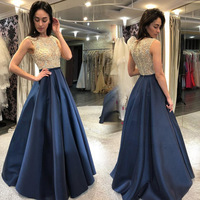2020 Mature lady Formal Evening Gowns Beading Crystal Top Navy Blue Satin Prom Gowns A Line Women Special Occasion Dress