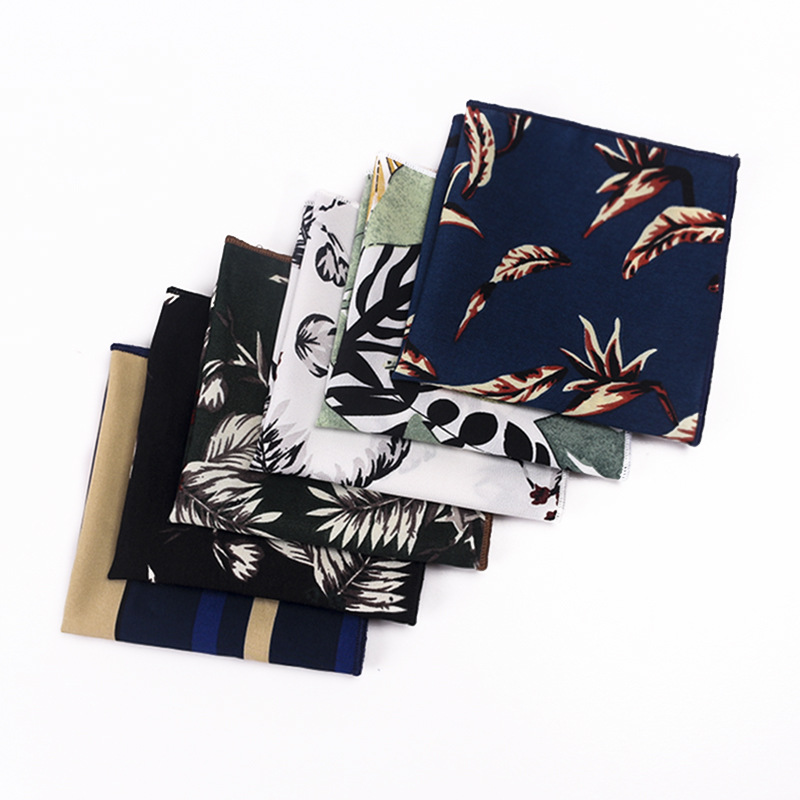 European And American Fashion Flower Men's Pocket Towel Polyester Silk Handkerchief Suit Square Scarf Fashion