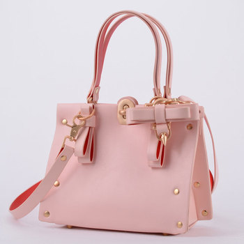 2020 Women Pu Leather bags Vintage lock Ostrich pattern with bow studs Top-Handle Handbags Casual Messenger Tote Bags Designer