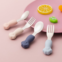 2021 New Baby Feeding Spoon Fork Set Silicone Handle Cute Cat Paw 316 Stainless Steel Cutlery Infant Heat-Resistant Tableware