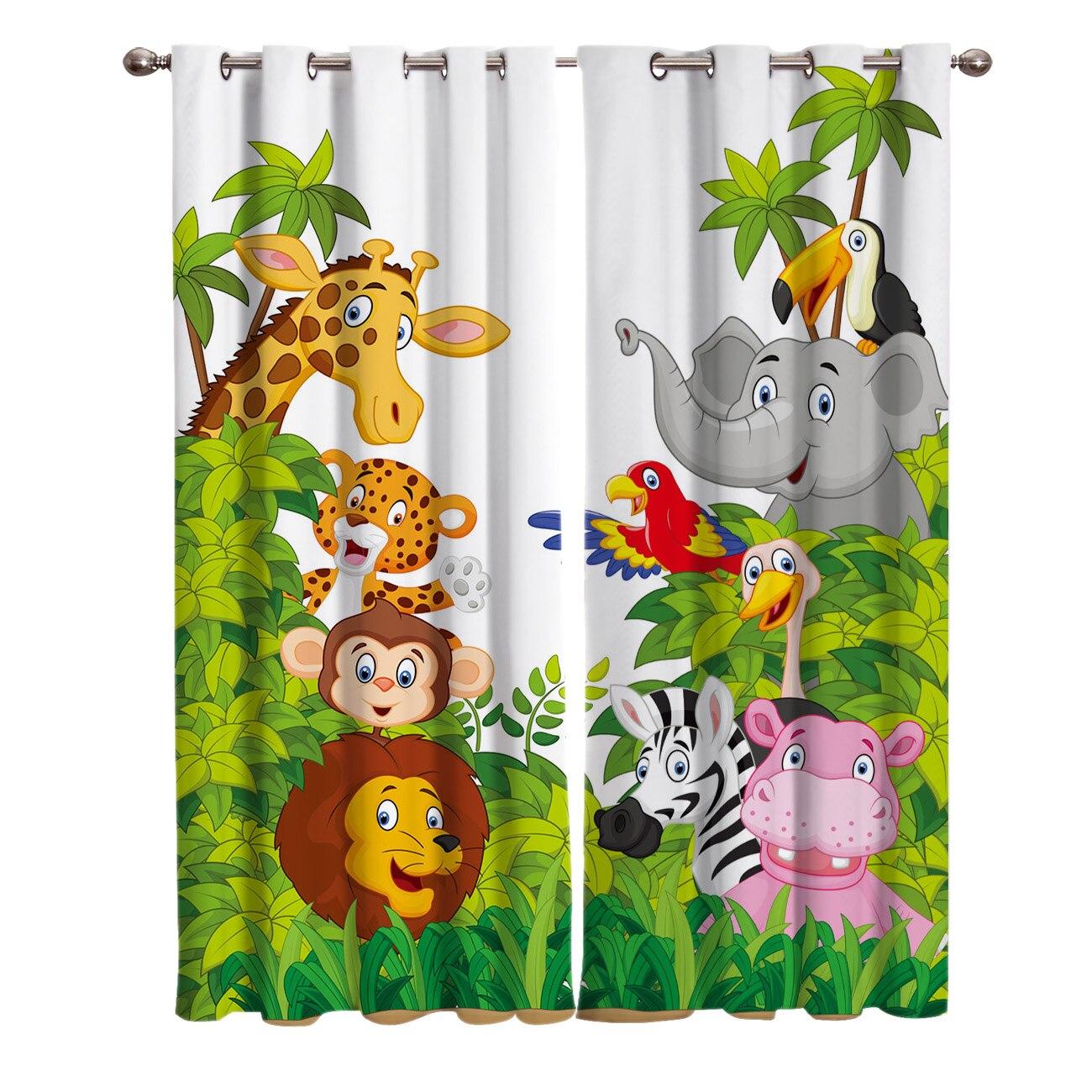 Шторы с животными из джунглей, Мультяшные, жираф, Лев, для гостиной, спальни, домашнее украшение, для взрослых и детей, оконные занавески