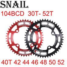 цена на SNAIL Chainring 104 BCD round 30t 32t 34t 36t 38t 40t 42t 44t 46t 48t 50t 52t tooth single tooth plate MTB Mountain bike 104BCD
