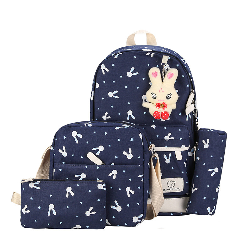 4pcs//Set Backpack Women Canvas Travel Bookbags School Bags for Teenage Girls