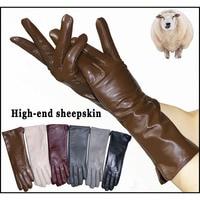 Модные кожаные женские перчатки удлинённые 1