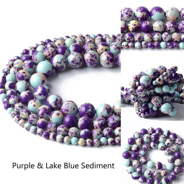 Perles de pierre de Jaspers de sédiment bleu de lac pourpre naturel pour la fabrication de bijoux 4/6/8/10mm perles rondes Bracelet à bricoler soi-même accessoire de bijoux