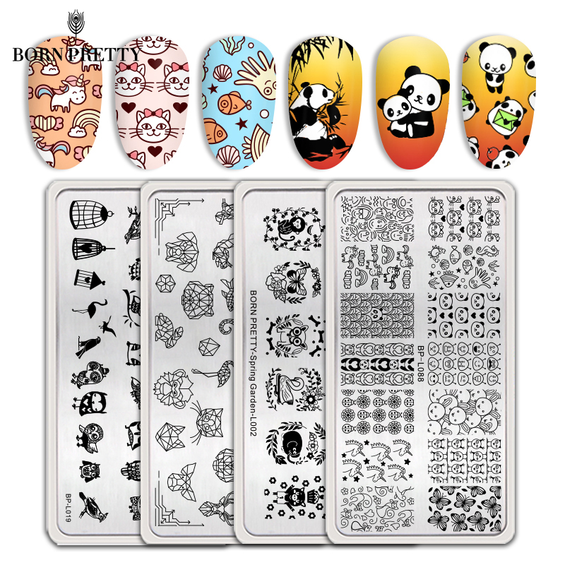 BORN PRETTY Nail Stamping Plates 304 Stainless Steel Nail Art Stencil Butterfly Cute Animal Theme Stamp Templates Manicuring DIY