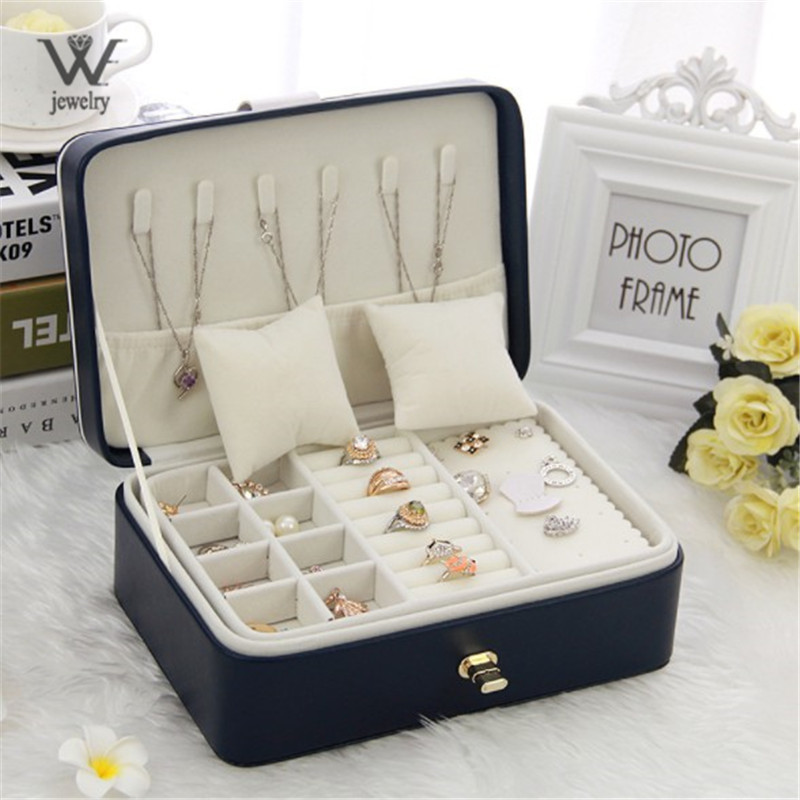 WE Double Layer Portable Travel Jewelry Box With Mirror Leather Display Organizer Storage Case for Earrings Necklace Ring