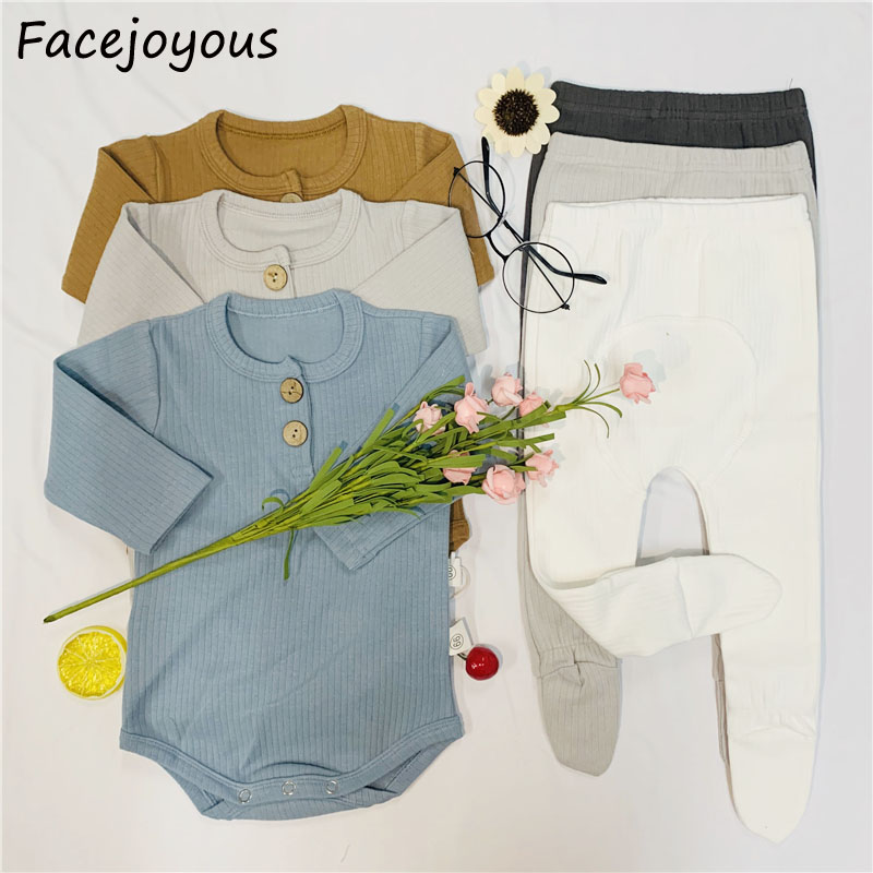 Newborn Baby Girl Boy Clothes Infant Ribbed Baby Bodysuits Kids Long Sleeve Solid Color Jumpsuit Outfit Kid Pantyhose Clothing