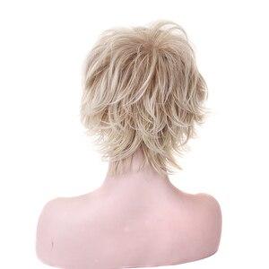 Image 2 - HAIRJOY 합성 머리 여자 라이트 금발 짧은 레이어 곱슬 가발 4 색 무료 배송