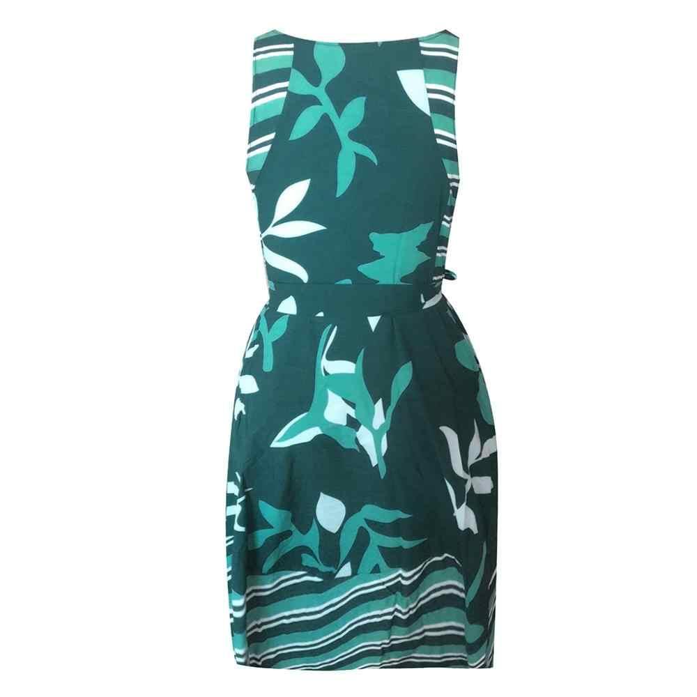 Vestidos femininos verão 2019 plus size o pescoço sem mangas boho impressão faixas uma linha vestido casual senhoras praia vestido de verão robe