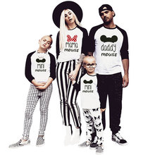 цена на Family Matching Clothes Mommy And Me Long T-shirt Baseball Tees Mother Daughter Outfits Father Son Look Patchwork Mickey Minnie