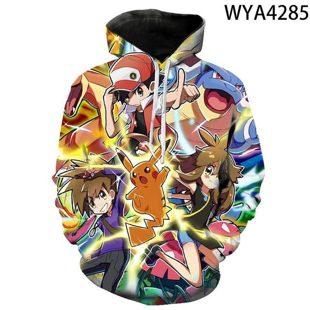 2020 new animated 3D printed hoodies men women children fashion hoodies pokemon boys girls kids sweatshirts street clothing 5