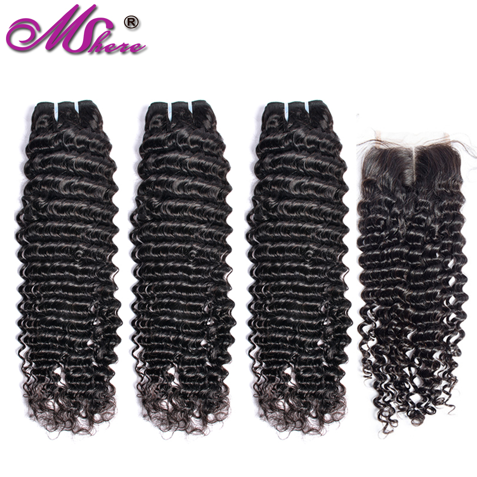 Peruvian Curly Mshere Human Hair Weave Bundles With Closure 3 Pieces Bundles With Free Closure Part Non-Remy Human Hair Weave