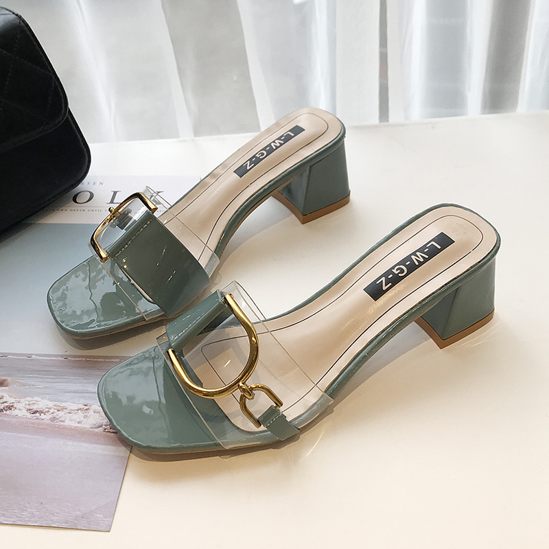 Summer Sandals Slippers Women 2021 New Fashion Slippers Casual High Heels Metal Buckle Outdoor All-Match Sandals And Slippers