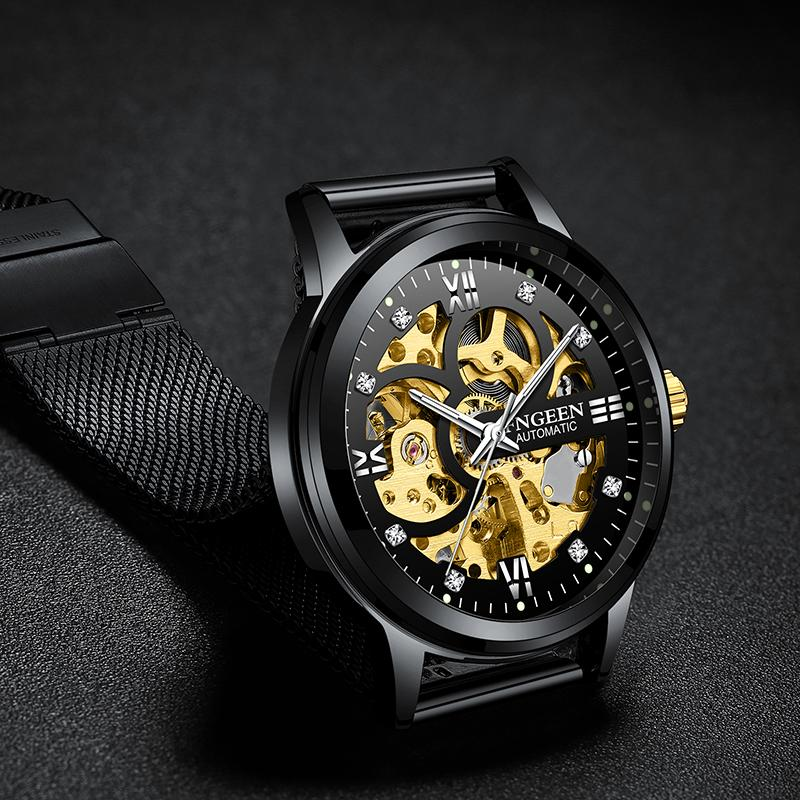 New FNGEEN Sport Mechanical Watch Luxury Mens Watches Men Skeleton Automatic Watch Montre Homme Clock