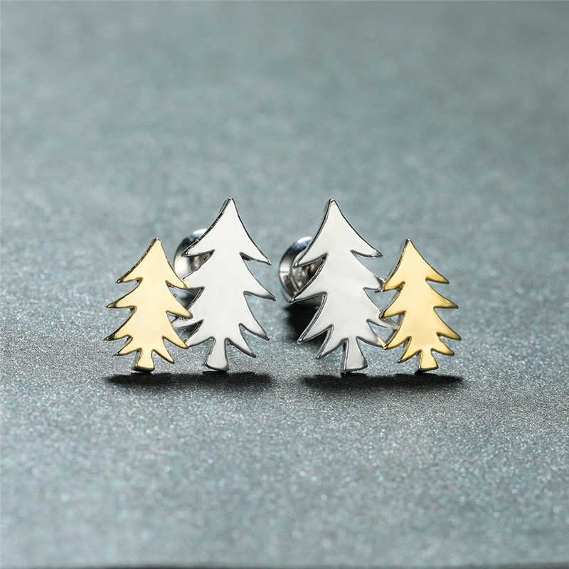 Simple Female Plant Small Earrings Cute Double Tree Stud Earrings For Women Minimalist Gold Color Color Wedding Earrings