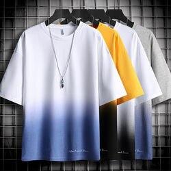 Градиентная футболка с коротким рукавом для мужчин 2020 новый летний корейский тренд ins Модная брендовая свободная и простая универсальная о...