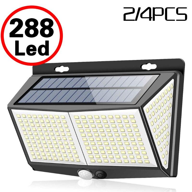 Sensor de cuerpo humano IP65 para exteriores, luz de calle de jardín con ajuste automático de brillo, 288 farola Solar LED