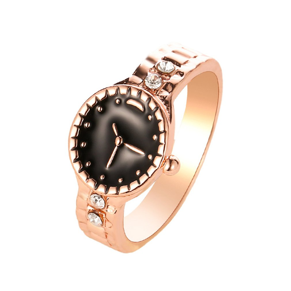 Europe and the United States new creative watch-shaped fashion ring personality couple ring exquisite jewelry Watch Dropshipping image