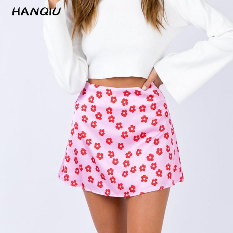 Summer mini skirts elegant high waist skirt pink floral satin skirts short kawaii boho skirt womens sexy skirs korean fashion image