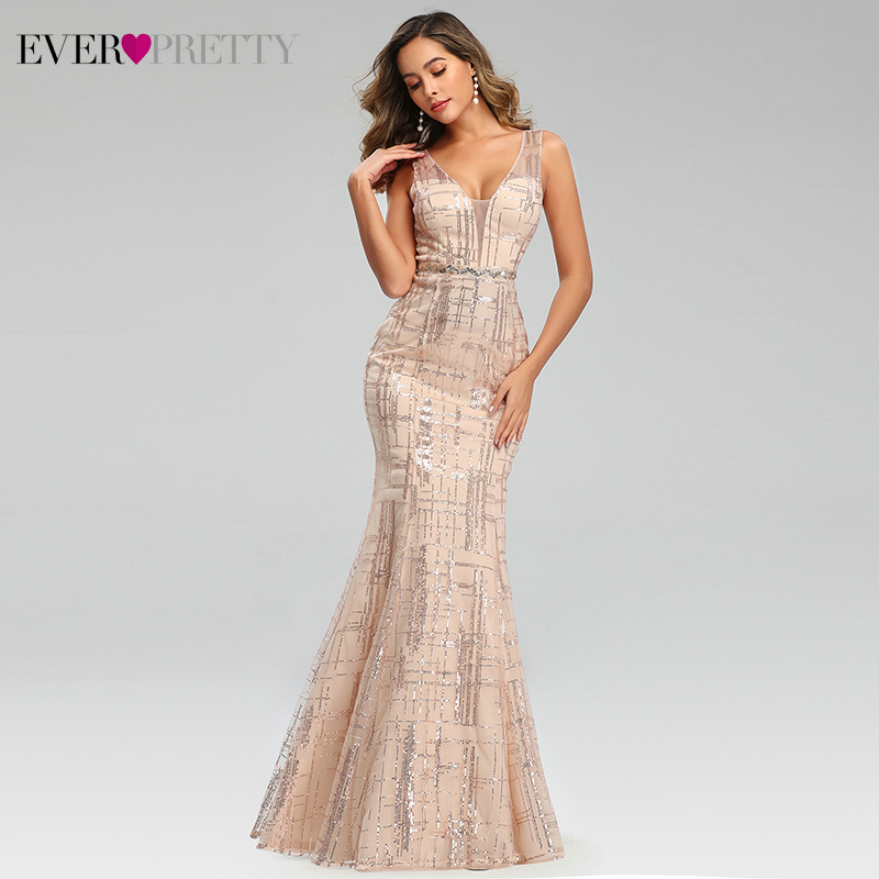 Sexy Mermaid Evening Dresses Ever Pretty EP00777RG Sequined Deep V-Neck Sleeveless Striped Sparkle Formal Dresses Abendkleider