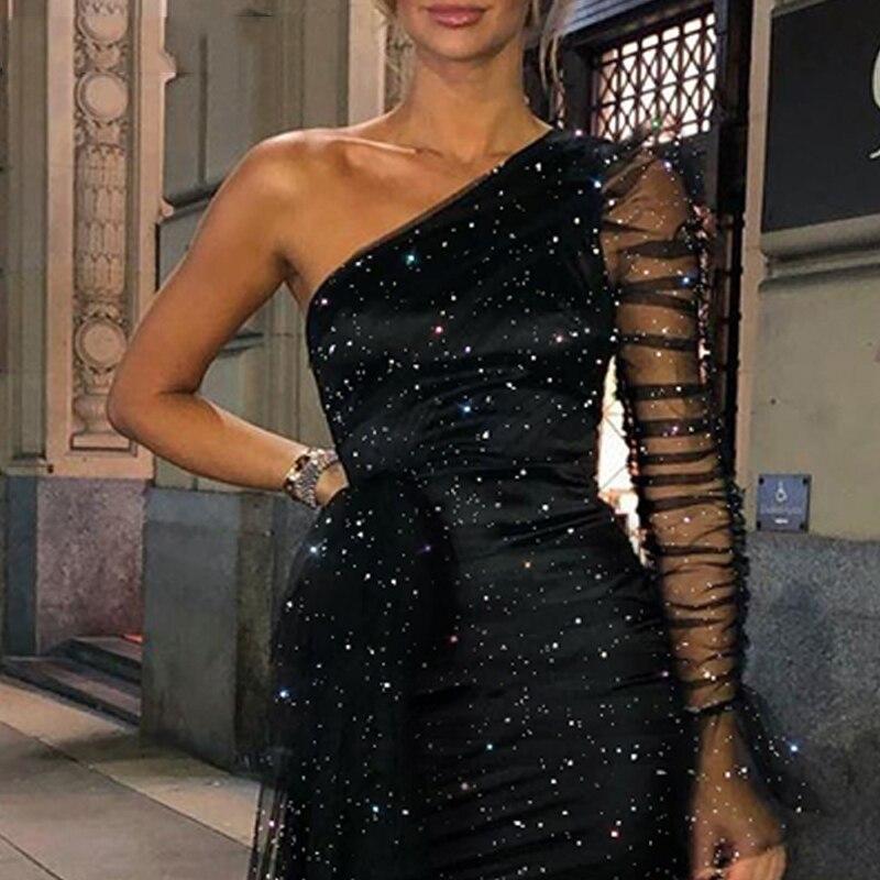 Новое поступление сексуальное блестящее Сетчатое облегающее платье с рюшами и длинным рукавом на одно плечо женское платье Клубное платье ...