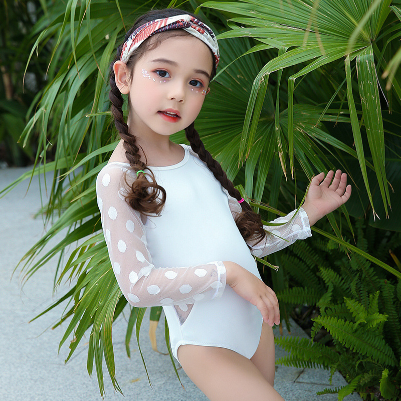 South Korea CHILDREN'S Swimwear GIRL'S Medium-small Big Kid Girls Long Sleeve Cute Sexy Princess Lace Backless Swimwear