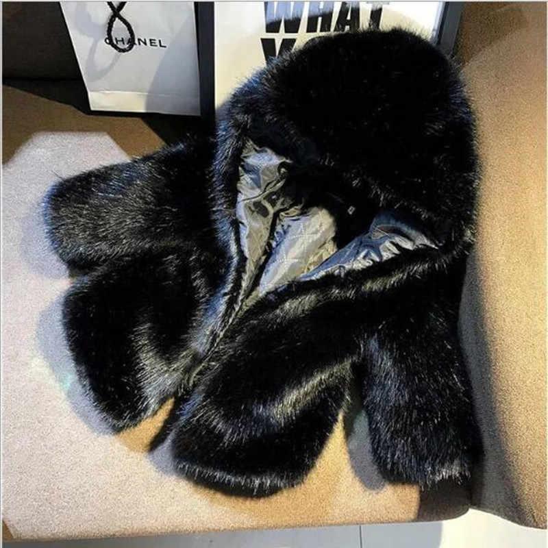 Çocuk kız kürk ceket 2019 sonbahar kış taklit tilki kürk kız Faux kürk ceket bebek prenses kapşonlu fermuar palto QV336